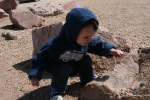 Nathan loves the dirt and rocks...