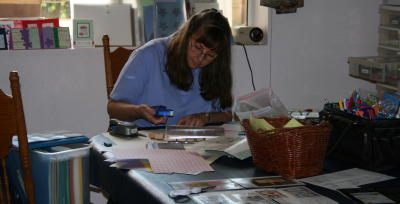 Beth rubberstamping and cardmaking...