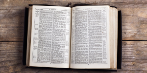 bible on wood